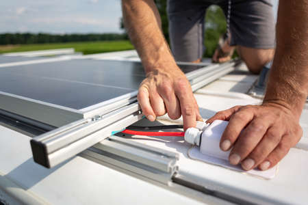 Solar panel connection cables on top of a camper van Reklamní fotografie