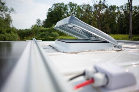 Open roof hatch on a camper van
