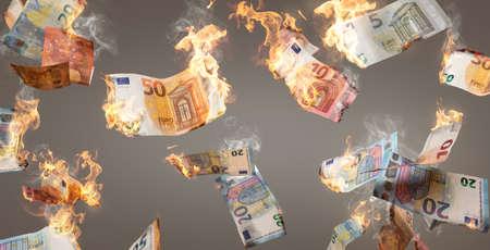 Burning Euro banknotes falling down 版權商用圖片