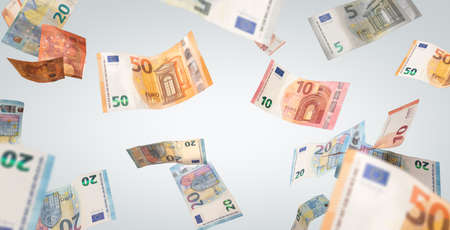Flying Euro Banknotes on a nutral background 版權商用圖片
