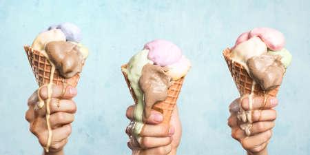 Three melting ice cream cones Reklamní fotografie