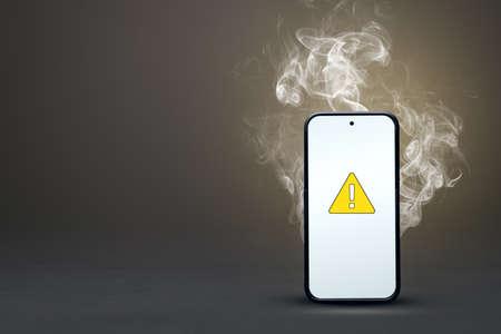 Smoking smartphone with failure icon