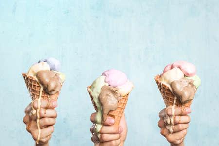 Three melting ice cream cones 免版税图像