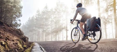 Cyclist on a bicycle with panniers riding along a foggy forest road Фото со стока