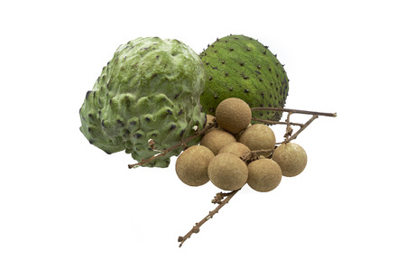 Fresh soursop, custard apple and logan fruits isolated on white background