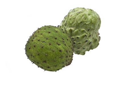 Organic soursop and custard apple fruits centered and isolated on white background