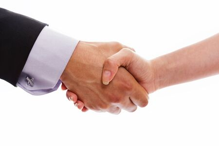 Man and woman handshake closeup on white background. Stock Photo - 15096501