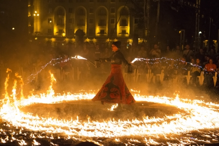 BUCHAREST, ROMANIA - SEPTEMBER 13: Lara Castiglioni performs Snow of Fire show during B-FIT in the Street, International Street Theater Festival on September 13, 2012 in Bucharest, Romania.