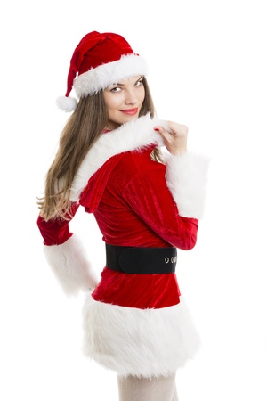 Beautiful happy woman dressed with Santa costume over white background.