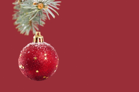 Red ball hanging on Christmas tree over red background with copy space. photo