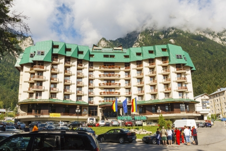 m hotel: BUSTENI, ROMANIA - JULY 26: Hotel Silva on July 26, 2009 in Busteni, Romania. Hotel Silva is located at 950 m altitude in Busteni, the most popular mountain resorts at the base of Bucegi Mountains.