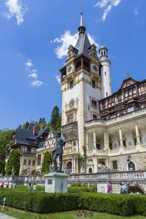 SINAIA, ROMANIA - JULY 24: Peles castle on July 24, 2013 in Sinaia, Romania. Given its historical and artistic value, Peles castle is one of the most important and beautiful monuments in Europe.