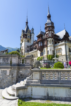 SINAIA, ROMANIA - JULY 24: Peles castle on July 24, 2013 in Sinaia, Romania. Peles castle was declared museum in 1953 and is the most visited in Romania with more than 300.000 tourists every year.