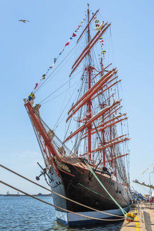 CONSTANTA, ROMANIA - MAY 25: Russian tall ship Sedov anchored during Black Sea Tall Ships Regatta 2014 on May 25, 2014 in Constanta, Romania. Sedov is the biggest tall ship in the world, 117,5 meters.