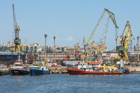 keel: CONSTANTA, ROMANIA - MAY 25, 2014: Shipyard of old commercial port of Constanta, the largest port on the Black Sea and the 18th largest in Europe.