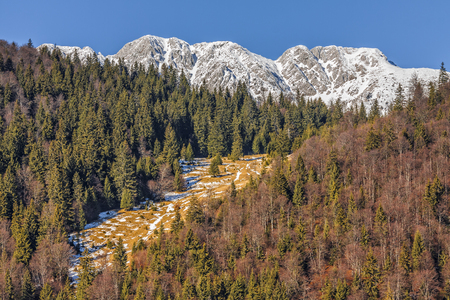 Piatra Craiului mountains peaks covered by snow in Piatra Craiului National Park, Brasov county, Romania. photo