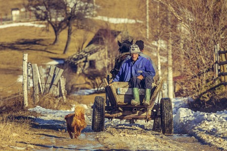 PESTERA, ROMANIA - DECEMBER 24, 2014: Unidentified highland farmers return home from laboring on the land, using horse cart, a traditional transportation vehicle still used in countryside.