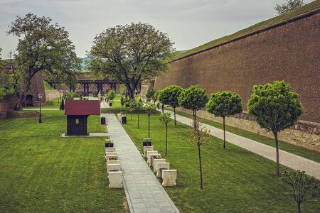 bulwark: ALBA IULIA, ROMANIA - MAY 6, 2015: The fortification walls (about 12 km in perimeter) and promenades of the bulwark Alba Carolina fortress, built between 1715 and 1738. Editorial