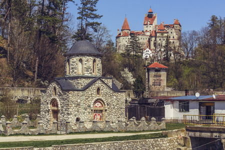 dracula: BRAN, ROMANIA - APRIL 25, 2015: Bran Castle, also known as Draculas Castle. From 1920 to 1957, Bran Castle served as royal residence, a gift of the people of Brasov to Queen Marie of Romania.