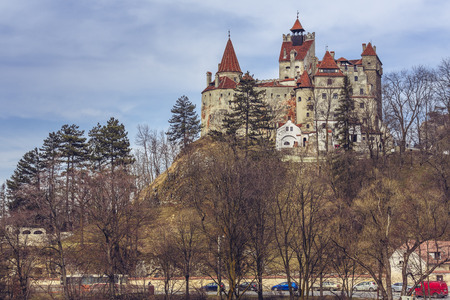 identified: BRAN, ROMANIA - MARCH 22, 2015: Bran Castle, also known as Draculas Castle. Its fame is created around Bram Stokers character, Dracula, often identified as Vlad Tepes Vlad the Impaler. Editorial