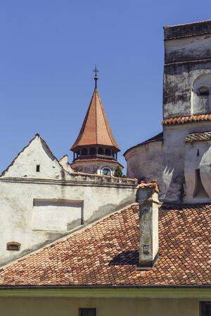 architectural heritage of the world: PREJMER, BRASOV, ROMANIA - JUNE 8, 2015: Architectural detail of the Prejmer fortified church, the largest in southeastern Europe, built in 1212-1213, part of UNESCO World Heritage of Romania.