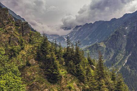 Mountain scenery along famous Transfagarasan road in Fagaras mountains, Romania