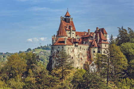 BRAN, ROMANIA - SEPTEMBER 22, 2015: Bran Castle, also known as Dracula Castle. Its fame is created around Bram Stoker's character, Count Dracula, often identified as Vlad Tepes (Vlad the Impaler).