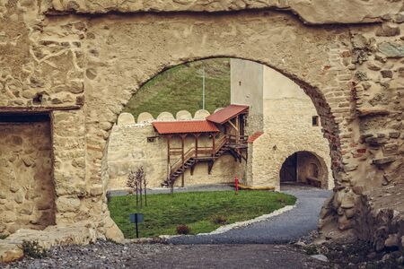 archaeological sites: Rupea, Romania - October 10, 2015: Interior courtyard of the Rupea citadel, first attested in 1324, one of the oldest archaeological sites in Romania, visited each month by more than 10,000 tourists. Editorial