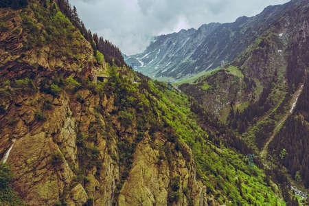 spaciousness: Majestic mountain scenery along famous Transfagarasan road in Fagaras mountains, Romania