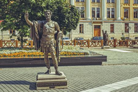 vestige: Alba Iulia, Romania - July 24, 2016: Imposing bronze statue in Alba Carolina Citadel square depicting Septimius Severus, also known as Severus,  Roman emperor from 193 to 211 A.D.