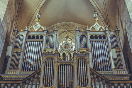 pipe organ: Alba Iulia, Romania - July 24, 2016: Neogothic organ of 2209 tubes built by Kolonics Istvan in 1877, in Saint Michael Cathedral, the most important monument of Romanesque architecture in Transylvania.
