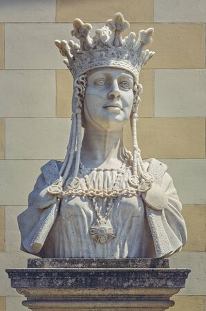 coronation: Alba Iulia, Romania - July 24, 2016: Marble bust statue of Queen Marie of Romania, the wife of King Ferdinand I, placed in front of the Coronation Orthodox Cathedral in Alba Carolina Citadel. Editorial