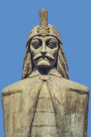 princely: Bucharest, Romania - April 14, 2014: Carved bust of Wallachian Prince Vlad Tepes, known as Vlad the Impaler or Vlad Dracula, believed to have been inspired the popular character of Count Dracula.