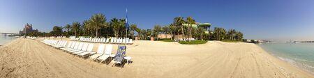 Picturesque panoramic view of the luxurious Atlantis the Palm Beach resort, Dubai, United Arab Emirates.