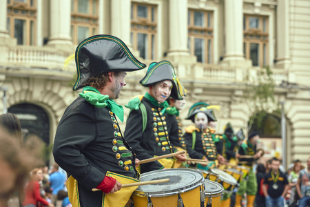 Bucharest, Romania - May 29, 2014: Parade, loud drums beating and wild rhythms with Les Tambours (Transe Express) during the B-Fit International Street Theater Festival in the historic center.
