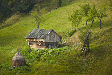 Old rustic wooden barn on green meadow in Rucar-Bran pass, Brasov county, Transylvania region, Romania. Springtime countryside scenery. Stock Photo