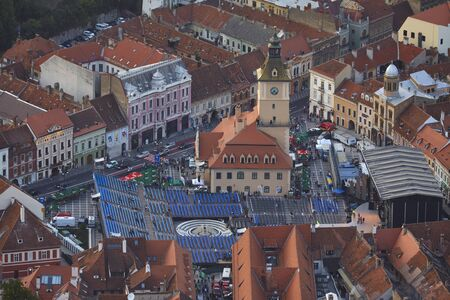 Brasov, Romania - September 1, 2018: Bird's eye view of the Golden Stag (Cerbul de Aur) International Festival at its 50th anniversary of the first edition, in the Council Square, Brasov, Romania. Editorial