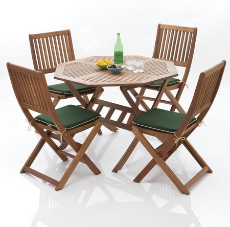 isolated chair: Wooden garden furniture Stock Photo