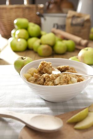 Apple Crumble in a kitchen