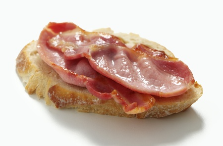 Bacon Sandwich prepared with thick crusty bread photo