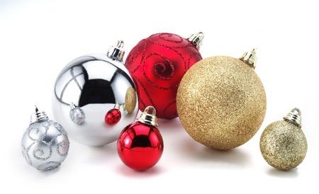 Christmas decorations on isolated white background Stock Photo