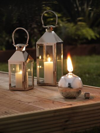 Garden Lanterns on a deck photo