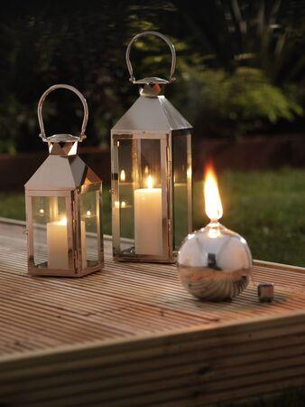 nightfall: Garden Lanterns on a deck