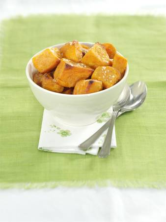 Roast potatoes in a bowl and served as a snack