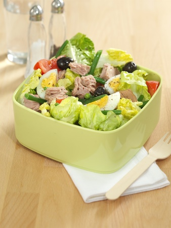 Tuna Salad seved in a lime green bowl