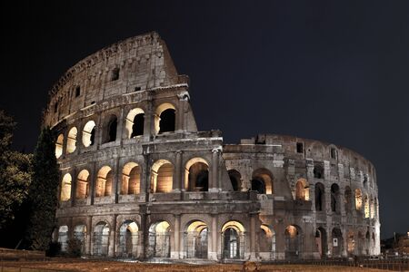 Roman Coliseum at night Stock Photo
