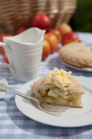 Apple Pie with cream outside