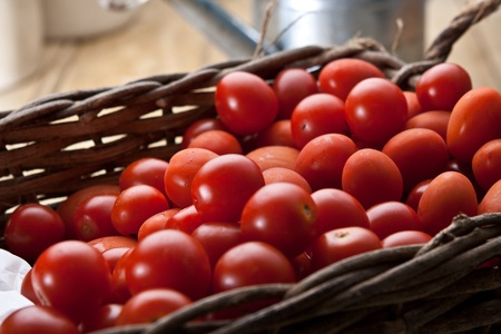 Red Tomatoes in a wicker basket