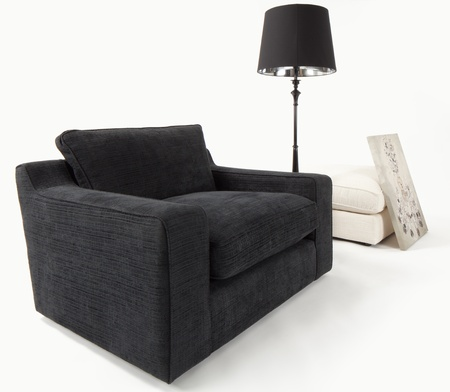 Sofa chair furniture composition on white Stock Photo