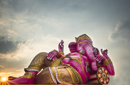 Great pink color elephant head god of Hindu is base on out door in Chachoengsao, Thailand